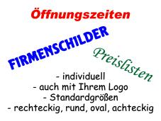 Firmenschilder - Standardgrößen
