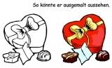 Motivstempel Herz-Pralinenschachtel