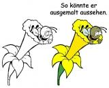 Motivstempel Biene in Osterglocke