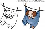 Motivstempel Hund an der Wäscheleine