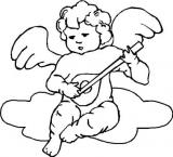 Motivstempel Musizierender Engel auf Wolke