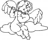 Motivstempel Musizierender Engel auf Wolke 2