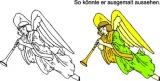 Motivstempel Musizierender, schwebender Engel